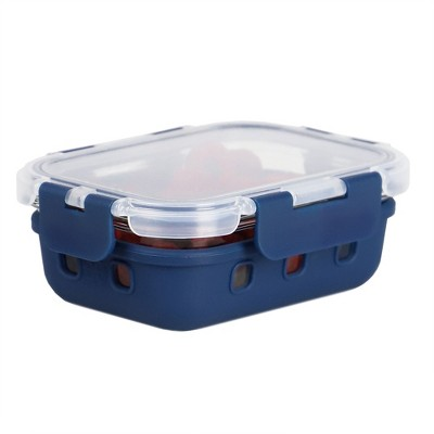 Michael Graves Design Rectangle Small 12 Ounce High Borosilicate Glass Food Storage Container with Plastic Lid, Indigo