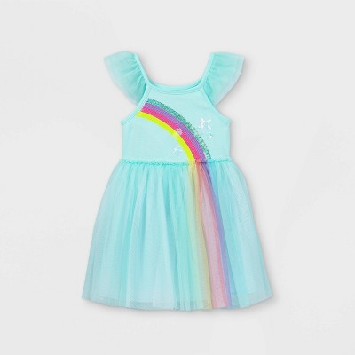 Toddler Girls' Sequin Rainbow Tulle Dress - Cat & Jack™ Aqua