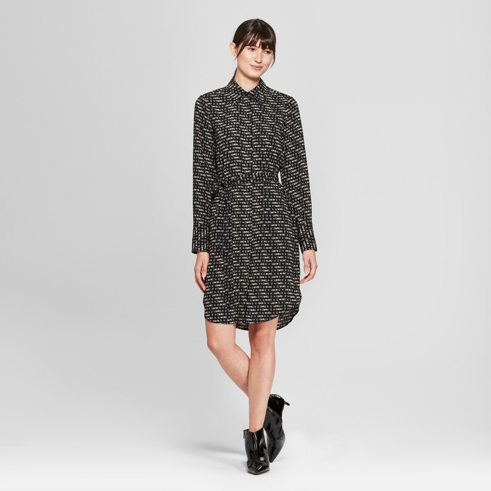 Women's Long Sleeve Collared Shirtdress - Prologue Geometric Black Square M