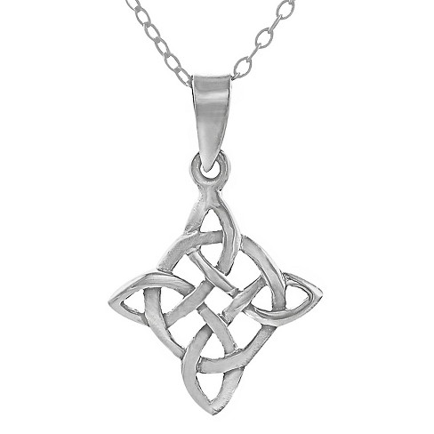 "Women's Journee Collection Polished Celtic Knot Pendant Necklace in Sterling Silver - Silver (18"") - image 1 of 1"