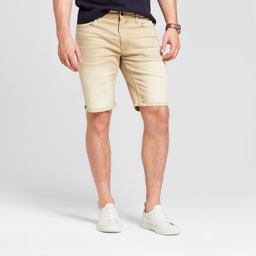 Men's 10.5 Slim Fit Denim Shorts - Goodfellow & Co Tan 40, Beige