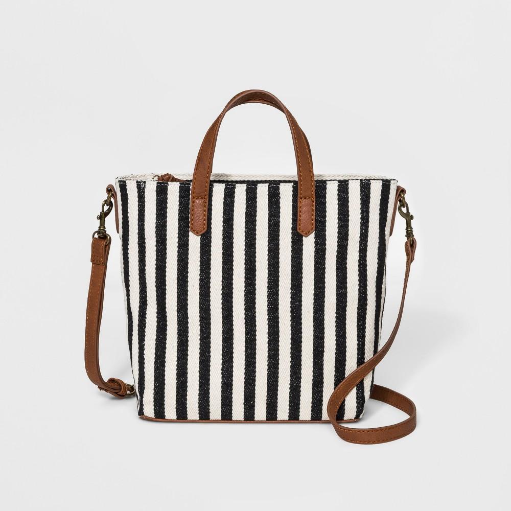 Striped Rowan Tote Handbag - Universal Thread Black, Women's, Size: Small