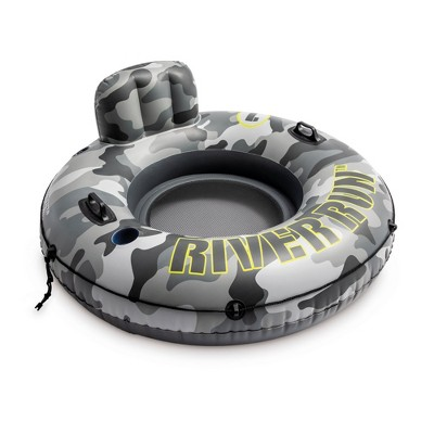 Intex 56835EP River Run I Camo Inflatable Floating Towable Water Tube Raft with Cup Holders and Handles for River, Lake or Pools, Gray Camo