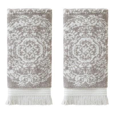 2pc Carrick Medallion Hand Towel Set Taupe - SKL Home