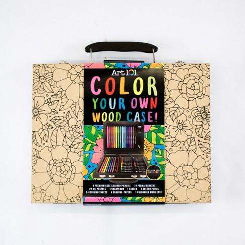 Art 101 Color Your Own Wood Case! 59pc Art Set - image 1 of 5