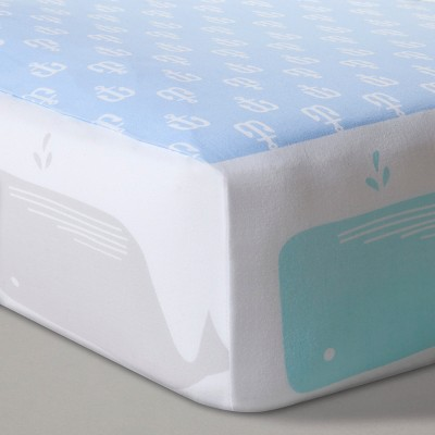 Fitted Crib Sheet Anchors & Whales - Cloud Island™ Light Blue