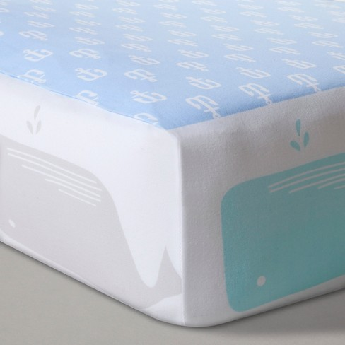 Fitted Crib Sheet Anchors & Whales - Cloud Island™ Light Blue - image 1 of 2