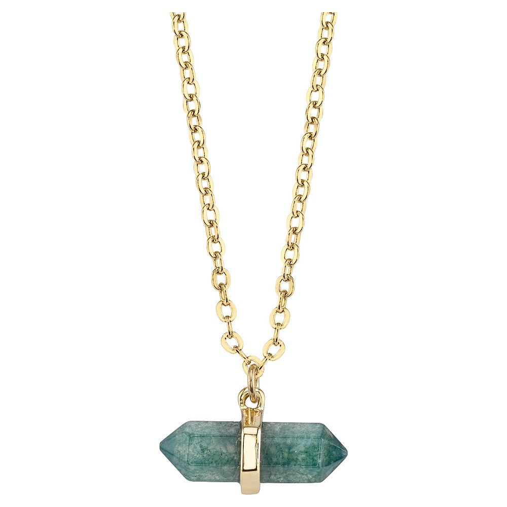 Plated Green Fancy Jasper Genuine Stone Necklace - 16+2 - Gold, Girl's, Green Gold