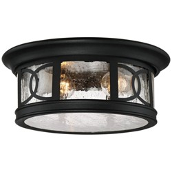 "John Timberland Outdoor Ceiling Light Fixture Black 12"" Seedy Glass for Exterior House Porch"