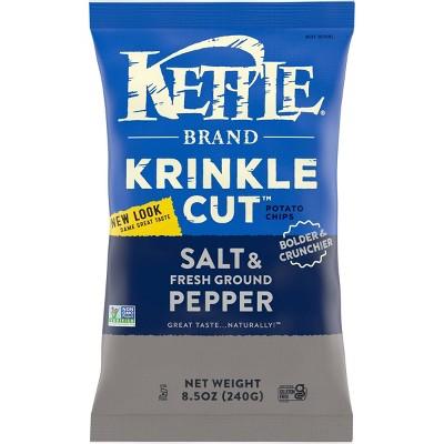 Kettle Krinkle Cut Salt & Fresh Ground Pepper Potato Chips - 8.5oz