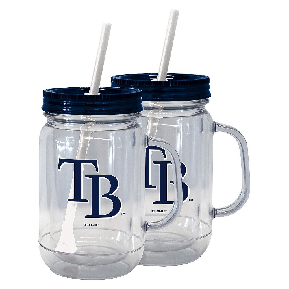 Boelter Brands MLB Tampa Bay Rays Set of 2 Handled Straw Tumbler - 20oz, Multi-Colored