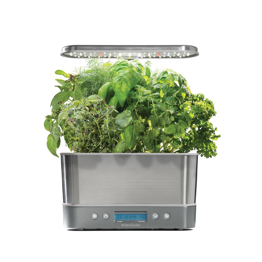 Image of AeroGarden Harvest Elite with Gourmet Herbs 6-Pod Seed Kit - Stainless Steel (Silver)
