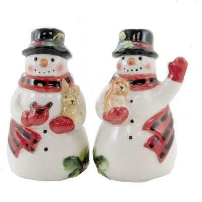"Tabletop 4.25"" Magic Christmas Salt & Pepper Snowman Shaker Set Certified International  -  Salt And Pepper Shaker Sets"