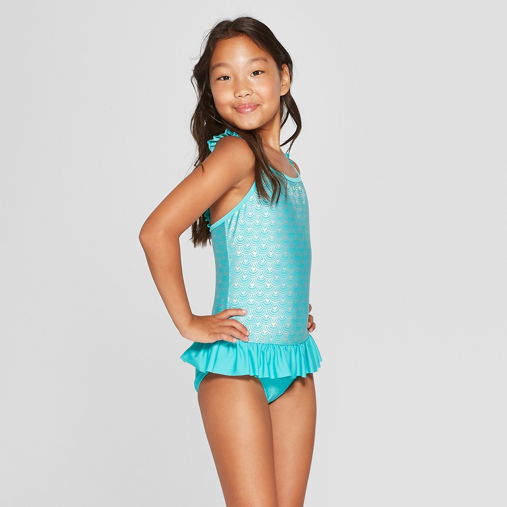 Girls' Shimmermaid One Piece Swimsuit - Cat & Jack Turquoise L, Blue