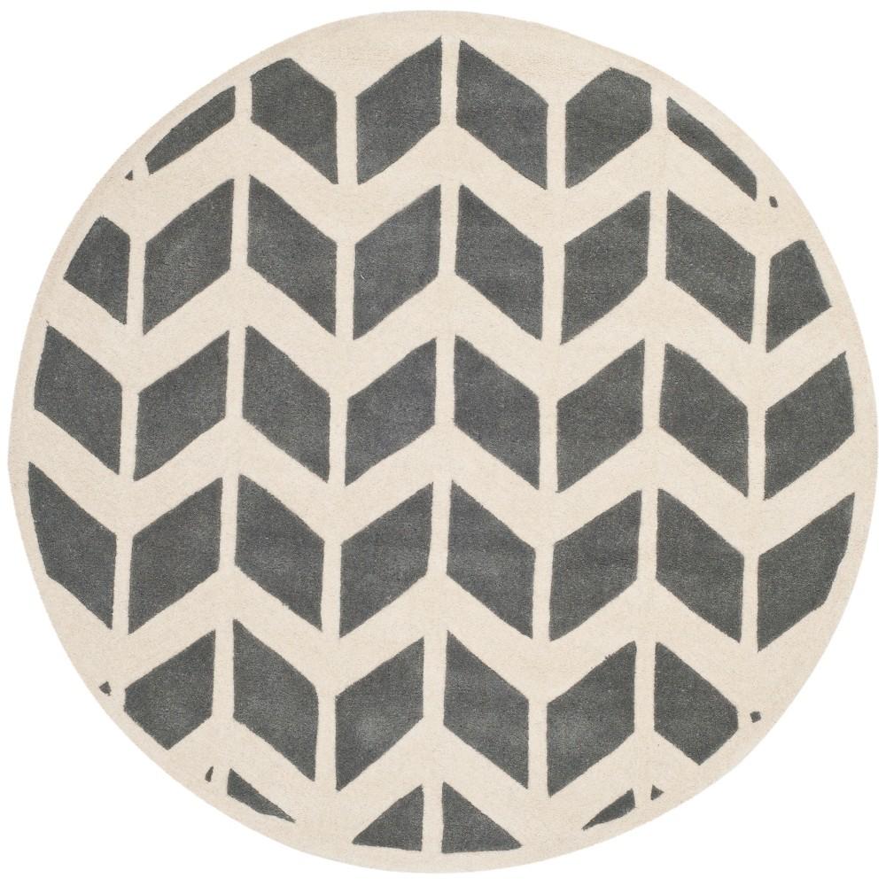 5' Chevron Round Area Rug Dark Gray/Ivory - Safavieh