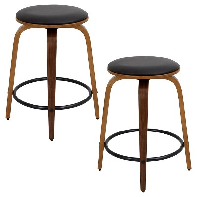 "Set of 2 Porto 24"" Swivel Counter Height Barstool Wood/Walnut/Brown - LumiSource"