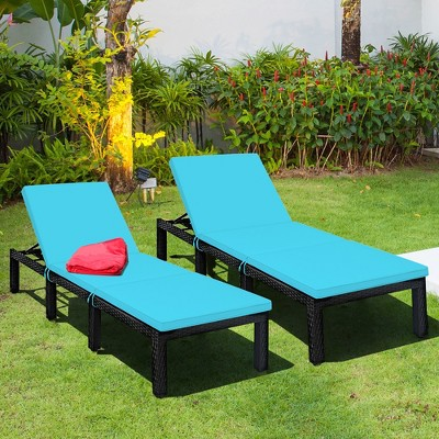 Costway 2PCS Patio Rattan Lounge Chair Height Adjustable Turquoise