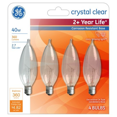 General Electric 40w 4pk CAC Long Life Incandescent Chandelier Light Bulb Clear