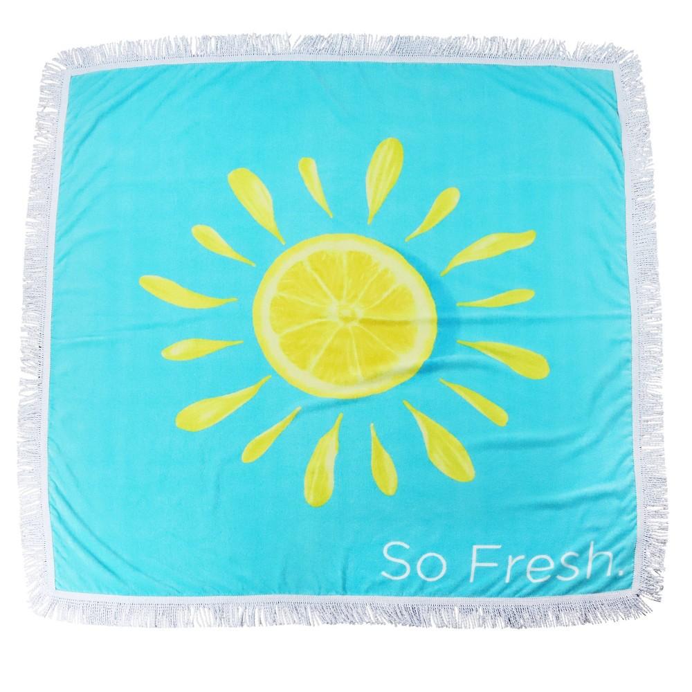 Fringe Lemon Squeeze Oversized Beach Towel Aqua Sand 38 Surf