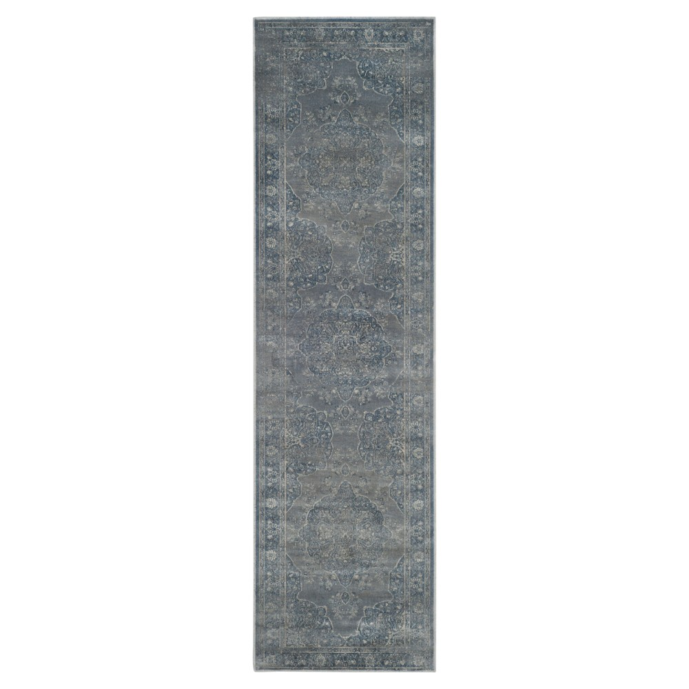 Blue/Gray Abstract Loomed Runner - (2'2X12') - Safavieh, Light Blue/Light Gray