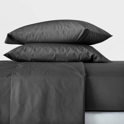 Queen Washed Supima Percale Solid Sheet Set Washed Black - Casaluna™