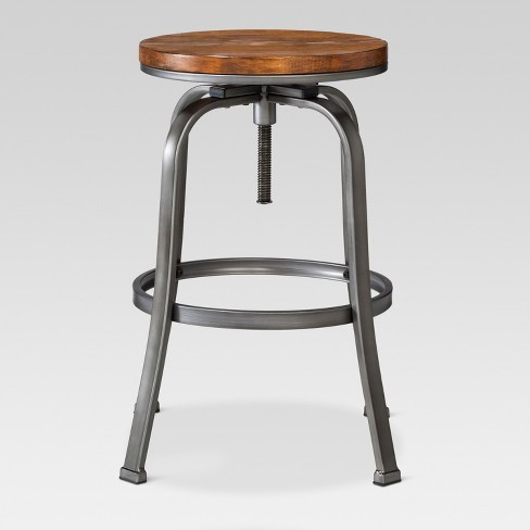 26 Quot Adjustable Wood Seat Barstool Pewter Threshold Target