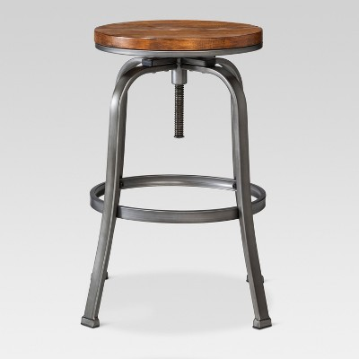 Dakota Adjustable Wood Seat Barstool   Threshold™
