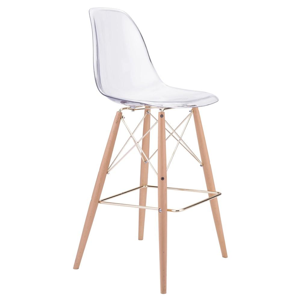 29.5 Mid-Century Modern Bar Chair - Clear - ZM Home