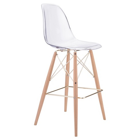 "29.5"" Mid-Century Modern Bar Chair - Clear - ZM Home - image 1 of 5"