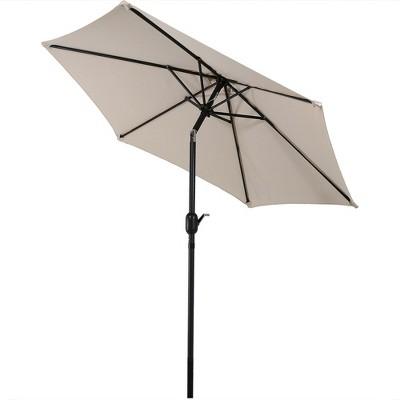 Aluminum Tilt Patio Umbrella 7.5u0027   Beige   Sunnydaze Decor