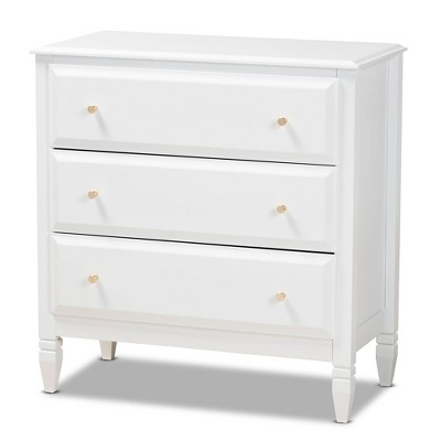 3 Drawer Naomi Wood Bedroom Chest White/Gold - Baxton Studio