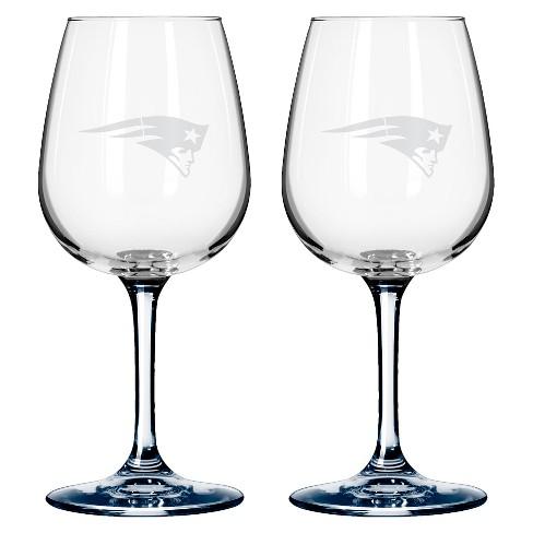 535a5628b3dd NFL Boelter Brands 2 Pack Wine Glass - 12 Oz - New England Patriots ...