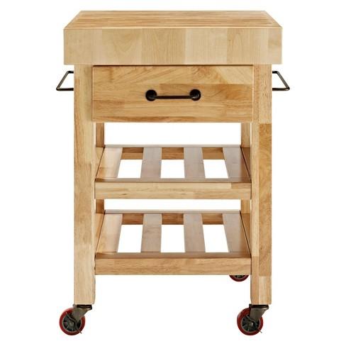 marston butcher block kitchen cart woodnatural crosley target - Butcher Block Kitchen Cart