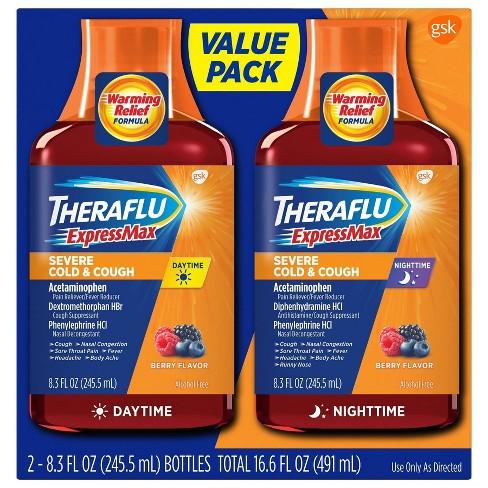Theraflu Expressmax Severe Cold Cough Day Night Relief Liquid 8 3 Fl Oz 2ct