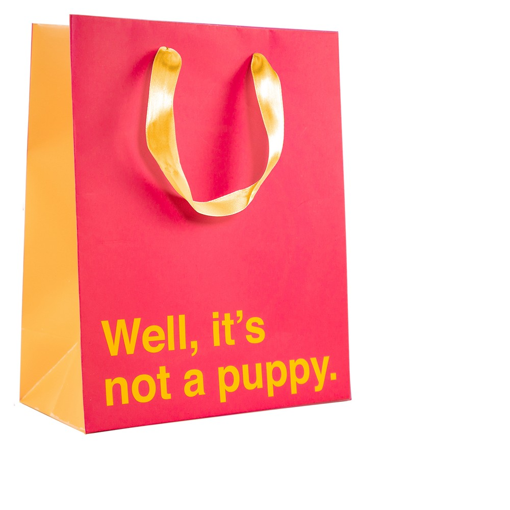 """Image of """"Medium """"""""Well It's Not A Puppy"""""""" Gift Bag Red"""""""