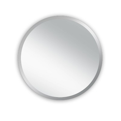"28"" Westport Round Frameless Beveled Glass Wall Mirror Silver - Alpine Art & Mirror"