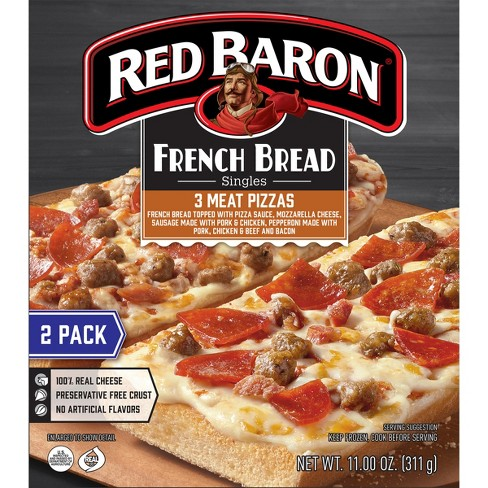 Red Baron French Bread Three Meat Frozen Pizza - 11oz - image 1 of 3