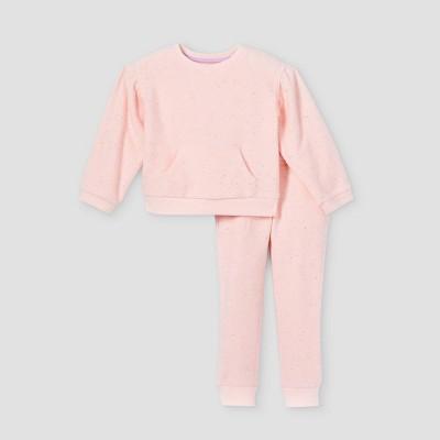 Toddler Girls' Textured Fleece Pullover Sweatshirt & Jogger Pants - Cat & Jack™ Light Pink