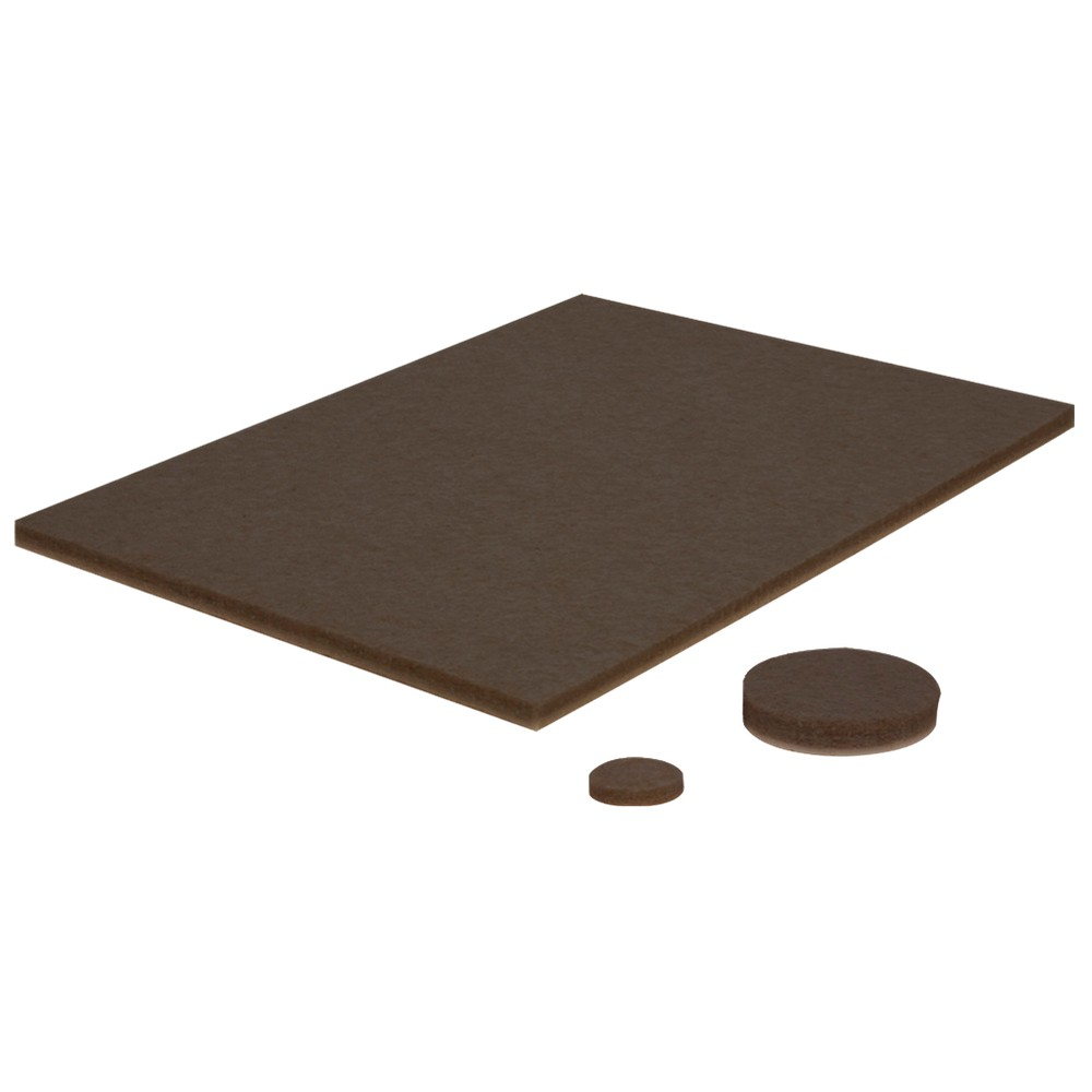 Magic Felt Home Helper Brown 102 Pc Perfect for small objects like lamps, computer equipment, and appliances that ruin table-tops and desks.