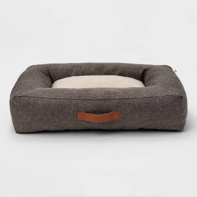 Rectangular Bolster Faux Linen Dog Bed - M - Boots & Barkley™
