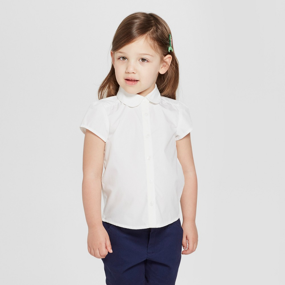 Kids 1950s Clothing & Costumes: Girls, Boys, Toddlers Toddler Girls Short Sleeve Uniform Woven Blouse - Cat  Jack White 3T Blue $8.99 AT vintagedancer.com
