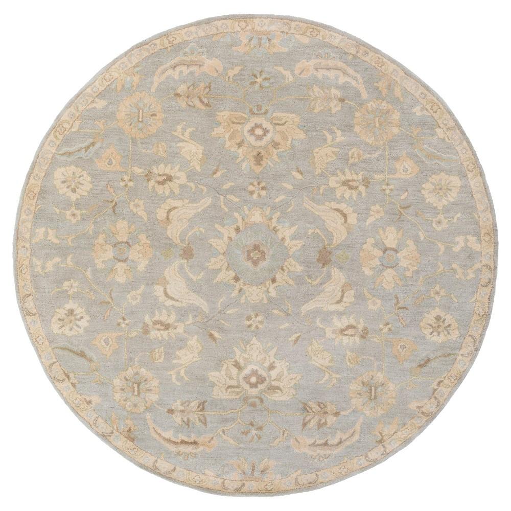 Hanzei Area Rug - Light Gray, Beige - (4' Round) - Surya