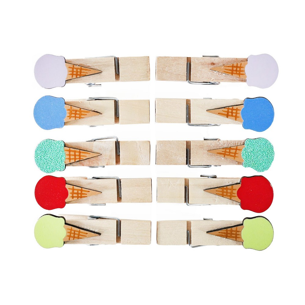 Image of 10ct Mini Ice Cream Cones Clothes Pins - Spritz