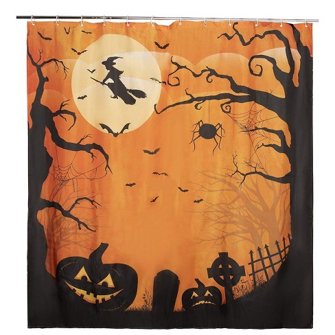 Juvale Halloween Shower Curtain with Hooks for Bathroom, Orange and Black (72 x 72 in) - image 1 of 3