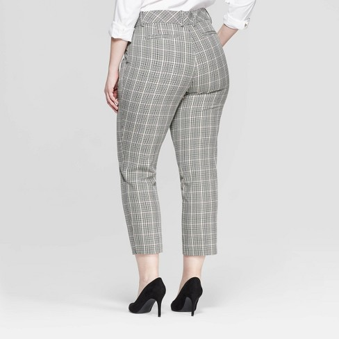 8a770548d0992 Women s Plus Size Plaid Ankle Pants With Comfort Waistband - Ava   Viv™ Gray  16W   Target