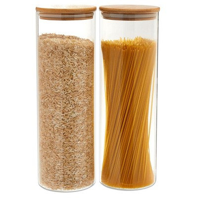 Juvale 2 Pack Glass StorageContainers with Bamboo Lids, Airtight Canisters for Pantry(70 oz)