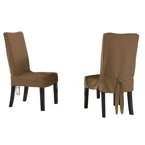 4pk Relaxed Fit Smooth Suede Furniture Dining Chair short Slipcover - Serta - image 1 of 2