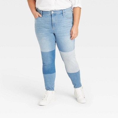 Women's Plus Size High-Rise Straight Cropped Jeans - Universal Thread™ Medium Blue