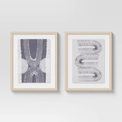 """(Set of 2)16"""" x 20"""" Racked Arcs I & II Framed Under Glass with Deckled Edge - Project 62™"""