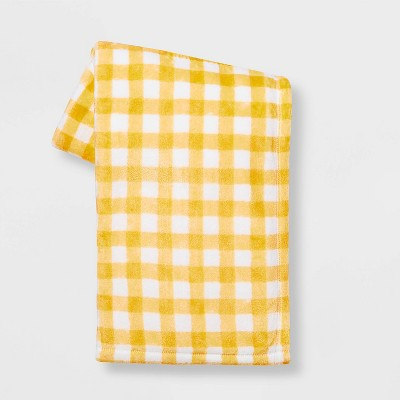 Plaid Printed PlushEaster ThrowBlanket Yellow - Spritz™